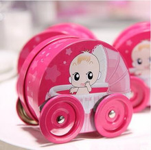 free shipping 2016 NEW ARRIVAL BABY girl y trolley pink biscuit gift box for party   L8.5*W8*H4.5(cm) 50 pcs/lot , XZZ6