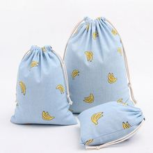 2pcs/lot Cloth Storage Bag Cotton Linen Drawstring Cartoon Banana Print Blue Gift Candy Bags for Sundries Free Shipping BD-3(China)