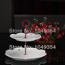 Manufacturers selling the layer 2 style cake stand round steel/red ceramic plate processing home decor