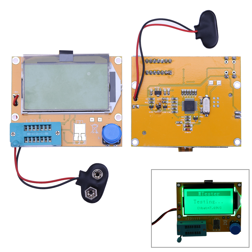 2X LCR T4 ESR Combo Digital Transistor Tester Diode Triode Capacitance indutor resistor MOS/PNP/NPN + Teste clipe 5