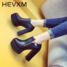 HEVXM New Women High Heels Thick With Waterproof Side Zipper Fashion Boots Spring And Autumn Women'S Martin Boots Bare Boots
