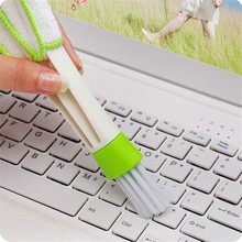Cleaning brush Keyboard Dust Car Cleaner Computer Dirt Double ends Brush Air Conditioning Window Microfibre nylon Cleaning Brush(China)