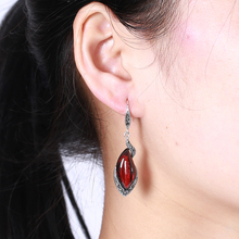 EDI Vintage Retro Red Garnet Drop Earring Chalcedony Gems Long 925 Silver Earrings Jewelry For Women(China)