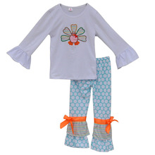 100% Cotton Cheap Girls Thanksgivin Clothes Long Sleeve Sets Turkey Top Wholesale Children's Boutique Clothing For Kids T006