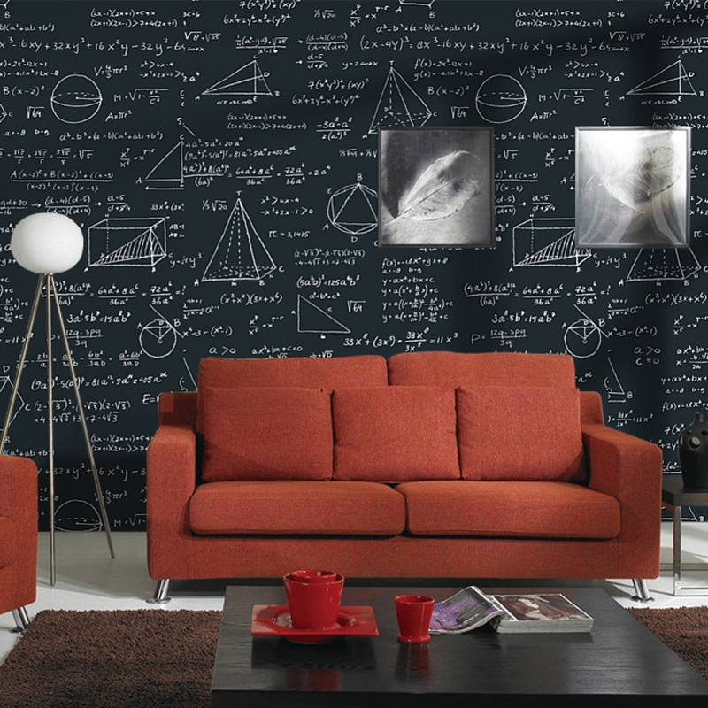 Beibehang Blackboard geometry math formula equation personality wallpaper childrens room cafe restaurant white black wallpaper <br>