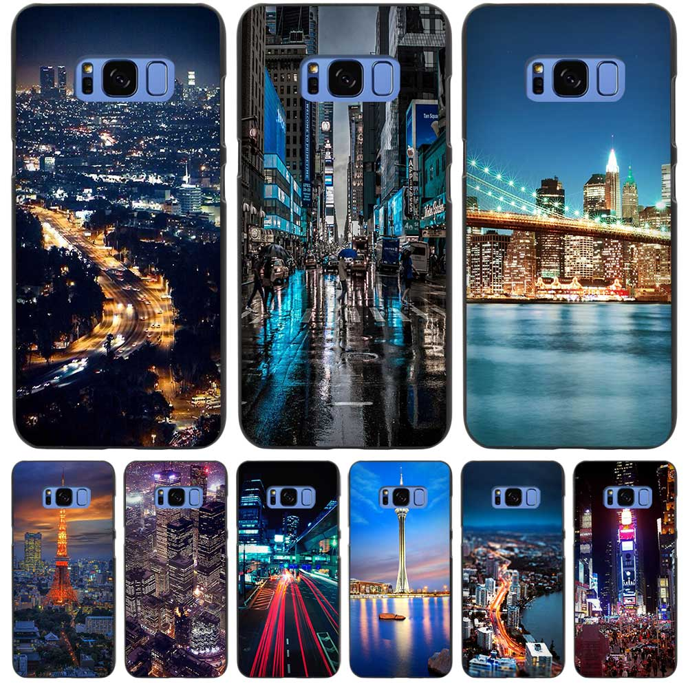 City At Night Lights Black Case Cover Shell Coque for Samsung Galaxy S3 S4 S5 Mini S6 S7 S8 Edge Plus S8+(China (Mainland))