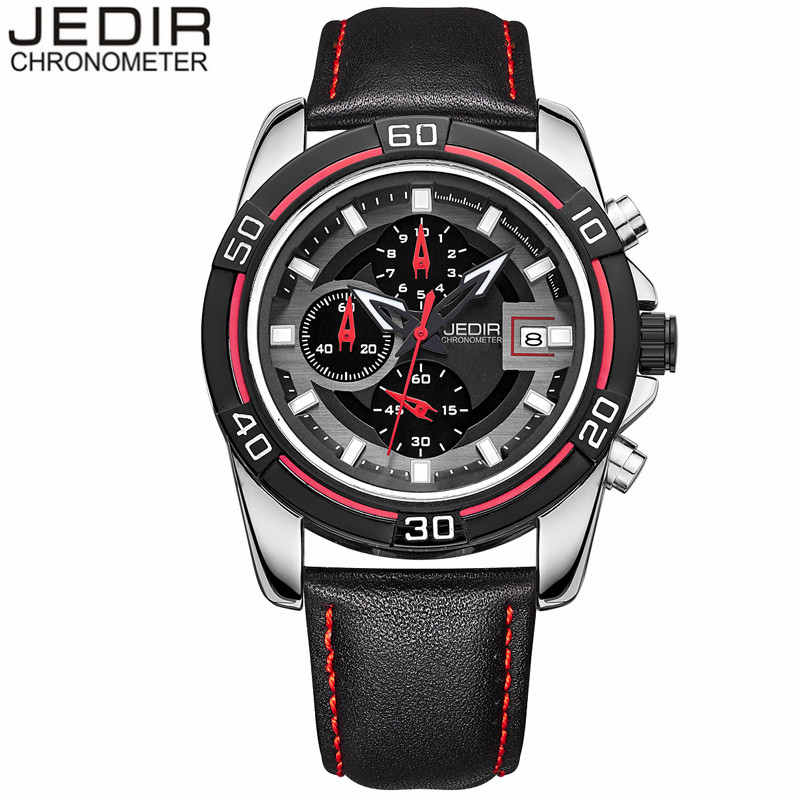 relogio masculino JEDIR Fashion Casual Men Quartz Watch Chronograph Luminous Analog Clock Male Sport Leather Strap Wristwatch<br><br>Aliexpress