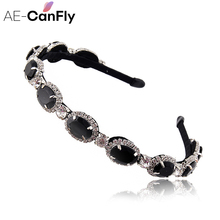 Shimmery Women Hair Accessories Oval Rhinestone Alice Band Headband Hair Band 1G2020