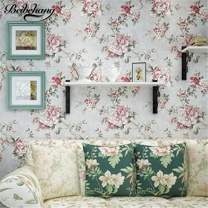 beibehang American Village Wallpaper Retro Green Pastoral Big Flower Bedroom Living Room TV Background Wall Nonwoven Wallpaper<br>