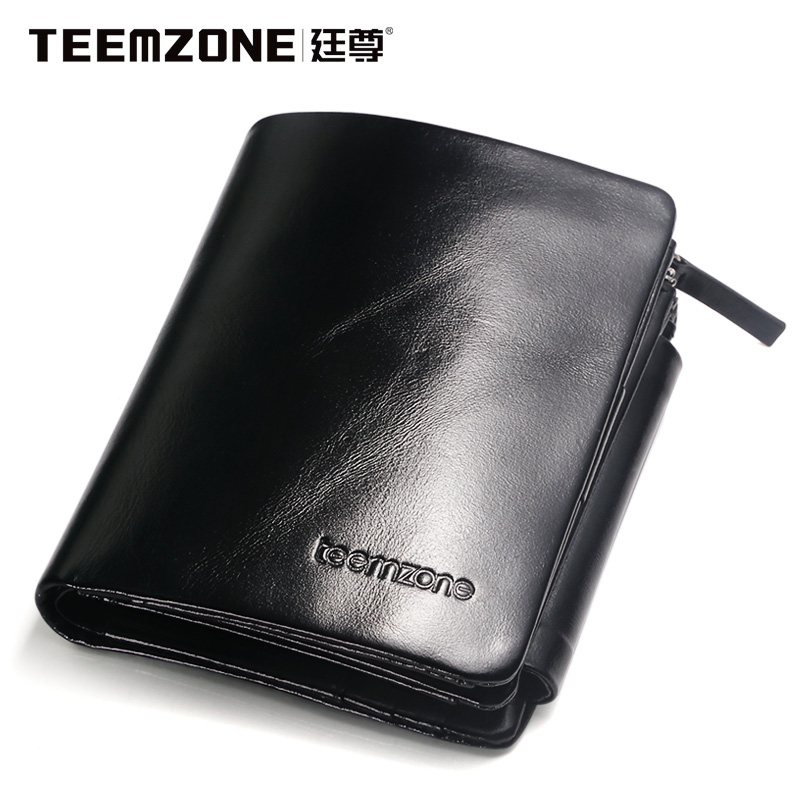 Brand Teemzone Men Wallet Genuine Leather Oil Wax Cowhide Purse Large Capacity Credit Card Wallet Mens Wallet Free Shipping<br>