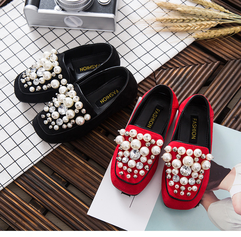 WENDYWU 2017 Spring and summer little girl pearl suede black leather children show shoes Hand-beaded Princess temperament<br>