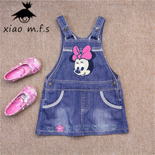 2017 Summer Baby Girl Denim Suspender Dresses Mickey Jeans Kids Overalls Children' Clothing MFS-4284(China)