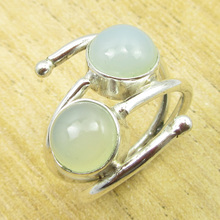 Natural Chalcedony PRETTY Ring Size US 6.5 ! Silver Plated Jewelry ONLINE STORE(China)