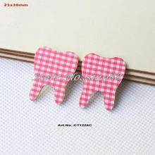 (100pcs/lot) Baby Shower Tooth Decorations-Blue Checked  Fabric Topper Wood Back Bulk 30mm-CT1224C