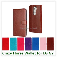 New Pink Crazy Horse Leather Grain Business Style Pouch Wallet Smart Cover Case for LG G2 with ID Card Holder Cellphone Bags