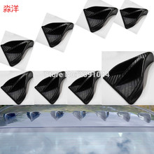 8 pcs Carbon Fiber Look Universal Vortex Generators Roof Shark Fins Spoiler Wing Kit Black for Car Truck SUV(China)