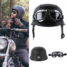 High Quality Motorcycle Half Helmet Glasses DOT German Style Size M/L/XL Harley Biker Pilot Protect Gear