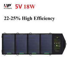 ALLPOWERS 18W 5V Solar Charger for iPhone iPad Samsung Phones and Power Banks, Dual USB Output Fast Charging Solar Charger