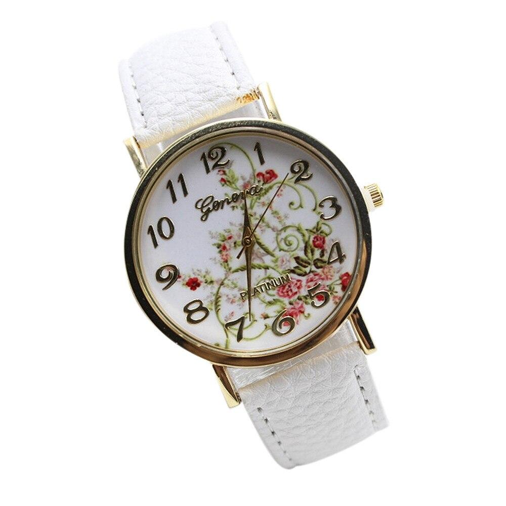 Nueva Geneva Vintage Flowers Stripes Dots Watch Women PU Leather wristwatch casual dress watch Ladies Watch<br><br>Aliexpress