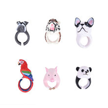 Velishy Women Animal Ring Hedgehog Ring Panda Dog Rings for Women Tiger Lizard Bear Parrot Funny Lady Animal Wedding Bend Ring