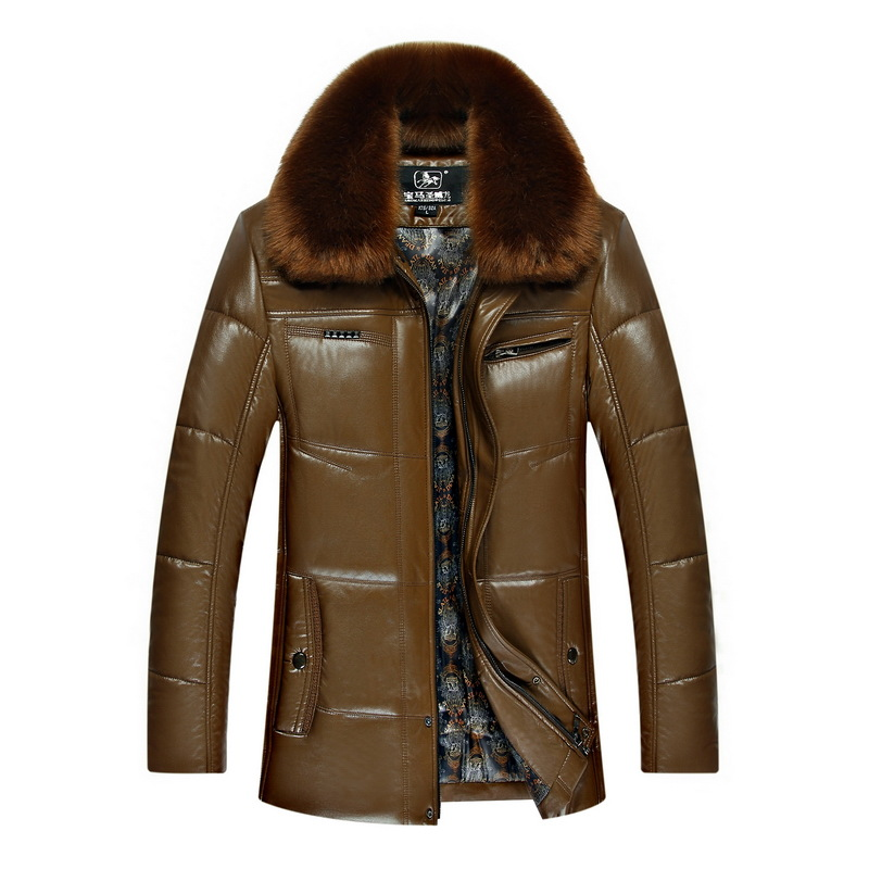 Men Soft Pu Leather Harley Down Jacket Winter Motorcycle Coat Patchwork Short Faux Fur Collar Korean Thick Quilted Manteau Homme