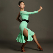 Hot Sexy Women Adult Latin Dance Dress Single Sleeve Stage Performance Fitness Clothes High-grade Lycra Quality Skirt Dress