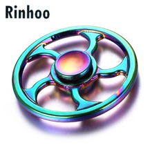 Long Spin Time 6 - 7 minutes Rainbow Fidget Spinner Metal Tri Whirlwind Round Steering Wheel Finger Hand Spinner Top Spinner Toy