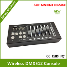 DHL Free Shipping 54CH DMX console 12V DC powered with 9 programs, 6 faders by 9 pages, can control any DMX 512 stage lighting