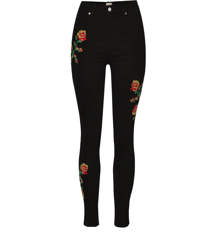 Hot Sexy High Waist Denim Stretchy Black Jeans Embroidery Rose Fashion Skinny Full Length Bodycon Tight Women Pencil Jeans Femme (4)