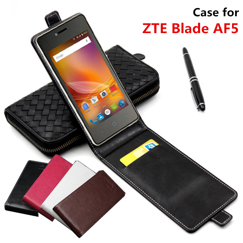Classic Advanced Top Leather Flip Leather case For ZTE Blade AF5 / For ZTE Blade AF 5 square Phone Cover Case With Card Slot(China)