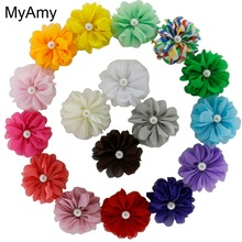 MyAmy 190pcs/lot mini ballerina flowers unfinished 2.4'' chiffon ballerina flowers With pearl kids DIY hair acessories