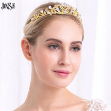 JINSE Wedding Crystal Tiaras Gold Silver Pageant Headband Rhinestone Charms Crown For Women Bridal HairAccessories Jewelry CR160(China)