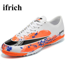 Ifrich Training Soccer Shoes Turf Football Boots Leather Indoor Football Shoes Black/Orange  Men Soccer Cleats Artificial Grass