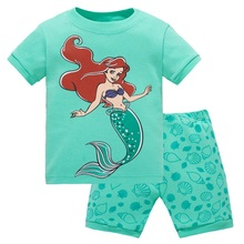 Fashion summer Baby girl clothing Sets childrens clothes pajama suits Baby sleepwears suits Kids cotton sleeveless shirts+shorts(China)