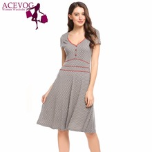 Buy ACEVOG Women Vintage Dress Summer Polka Dot Print V-Neck Short Sleeve Brand Fit Flare Dresses Party Feminino A-Line Vestidos for $16.58 in AliExpress store