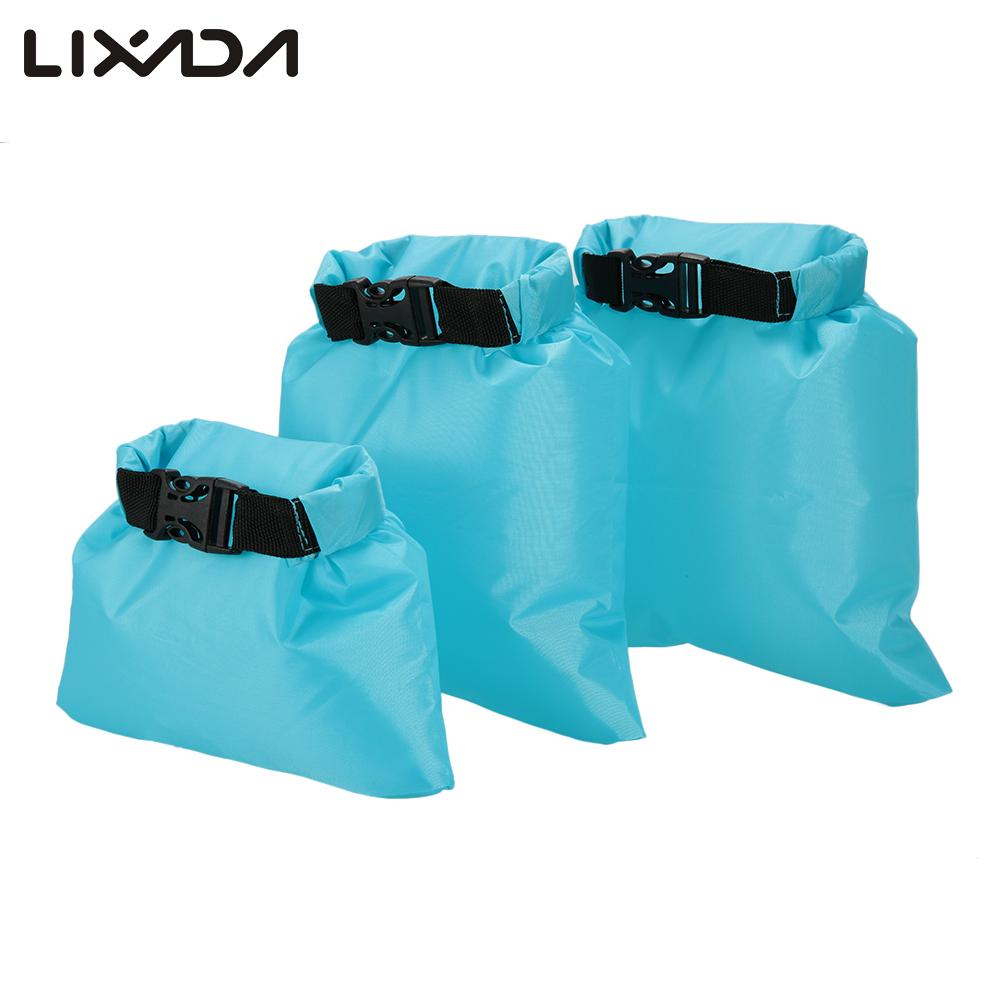 Lixada Dry Bag 1L+2L+3L Waterproof Outdoor Ultralight Dry Sacks Camping Backpacking Kayaking Polyester PU coating Dry Bags(China (Mainland))