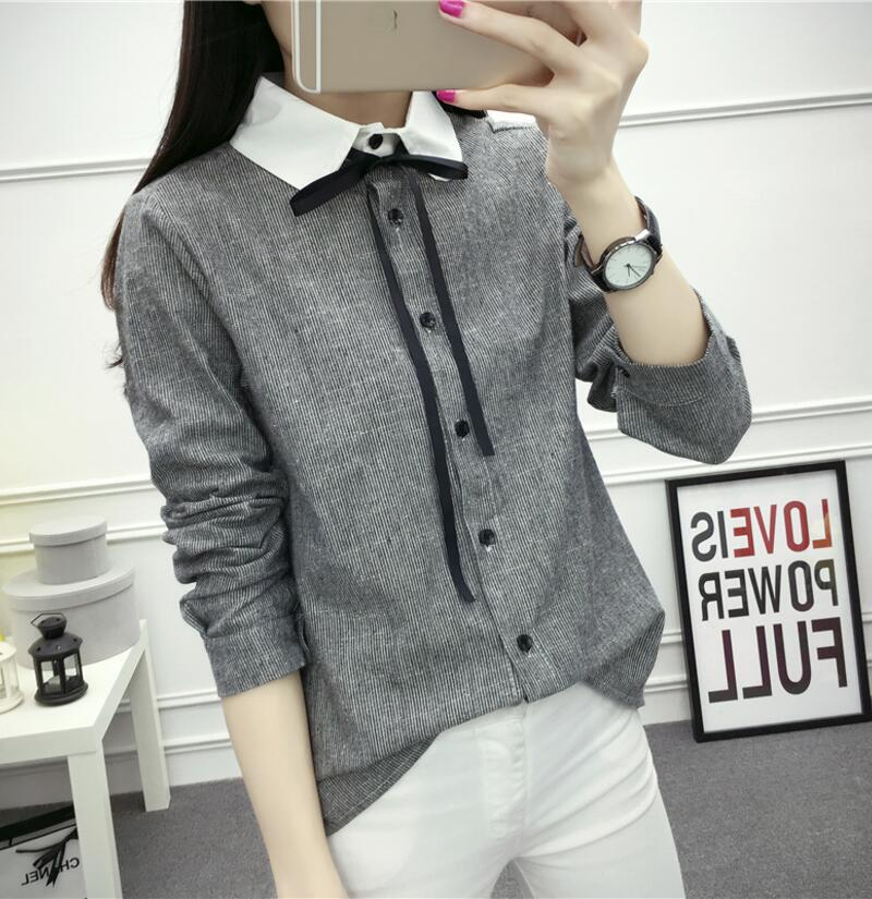 Women Shirts Cotton Linen Blouse Fashion Bow Lace-up Long Sleeve Ladies Tops Striped Women Blouses Casual Blusas Camisas Mujer