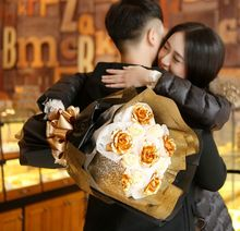 Hot Selling Elegant Gloden Flowers + Soap Flowers Bouquet For Mother's Day /  Valentine's Day / Birthday Gift / Wedding W/  Box