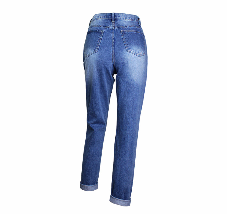 2018 Casual European Station Europe and the United States Style BF Wind Women Sequin Straight Hole Large jeans New Loose pants (10)