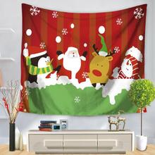 Customized Christmas Tapestry Fabric Wall Hanging Merry Christmas Snowman Santa Claus Decoration Wall Tapestry(China)