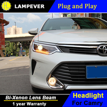 Lampever styling Styling for 2014-2015 Toyota Camry V55 LED Headlight New Camry Headlights drl Lens Double Beam H7 HID Xenon