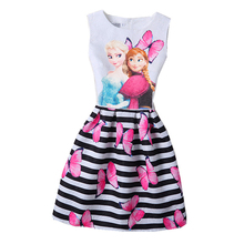 High quality Girl Dress Rose Striped Pattern A-Line Princess Dress Girls European Style Baby Dress Designer Kids Clothes 5-12Y