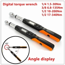 MXITA Digital torque wrench Rotary Angle Gauge 1.5- 340Nm Adjustable Professional Electronic Torque Wrench Bike car Repair(China)