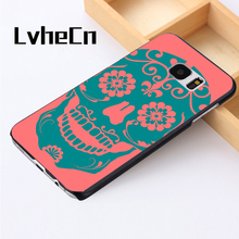 LvheCn phone case cover For Samsung Galaxy S3 S4 S5 mini S6 S7 S8 edge plus Note2 3 4 5 7 8 Candy Sugar Skulls Pattern Pink Blue(China)
