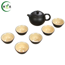 Buy S/7 Tea Set 1 Teapot + 6 Cups Black Porcelain kettle & Cups Kung Fu Puer Tea Green Tea Ceramic Tea Service for $29.99 in AliExpress store