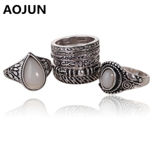 AOJUN 8 Pcs/Lot Vintage White Big Opal Stone Rings Set For Women Antique Silver Plated Mid Finger Ring Turkish Anel Jewelry