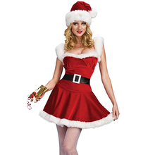 New Year Cosplay Party Belted Velvet Christmas Costumes for Adult, Women Plus Size Sexy Santa Baby Hooded Costume Dress XXL 7282