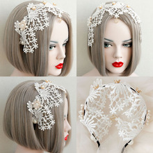 Hand Made Aesthetic Bride Lace Crown Pearl Hairbands Fresh Wide Bohemia Hair Accessory Girl Formal Evening Party Headband