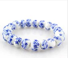 OMH wholesale 10 mm jewelry national wind  sell like hot cakes blue and white porcelain bracelet SZ52