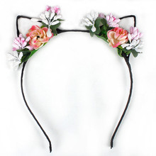 Fashion Women Girls Handmade Flower Animal Ears Hairband Hair Accessories Wedding Bridal Holiday Fabric Floral Headband 2 Colors(China)